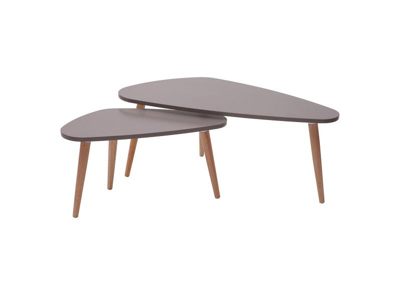 Tables Basses Design Gris Clair Et Bois Naturel Lot De 2 Artik