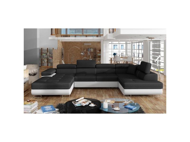 Canapé design convertible panoramique u rodrigo - angle droit - tissu noir/ pu blanc
