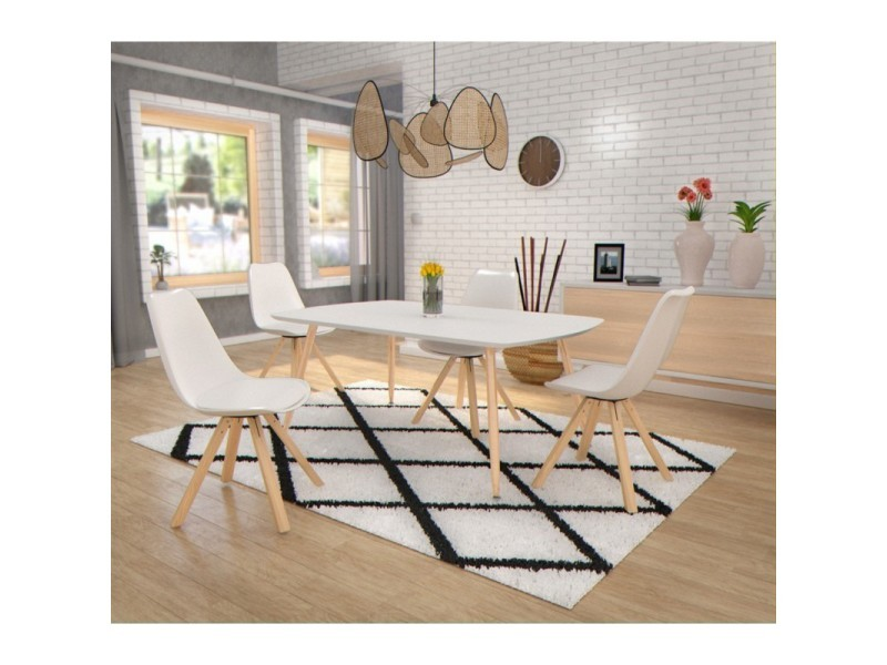 chaise salle a manger scandinave avec pieds en bois 59x49xh80cm blanc 430600lot1 conforama. Black Bedroom Furniture Sets. Home Design Ideas