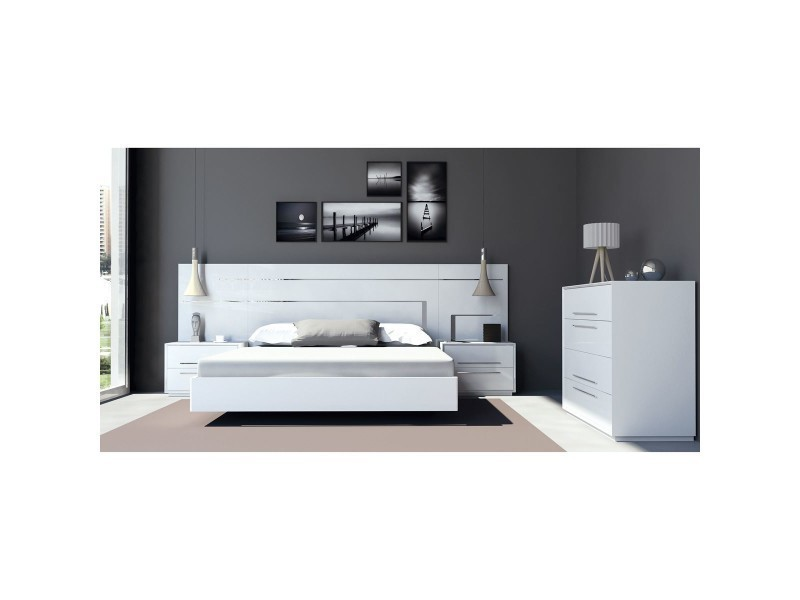 lit complet 2 chevets reve 180 cm laqu blanc d cor inox et poign es chrom es io 19230. Black Bedroom Furniture Sets. Home Design Ideas