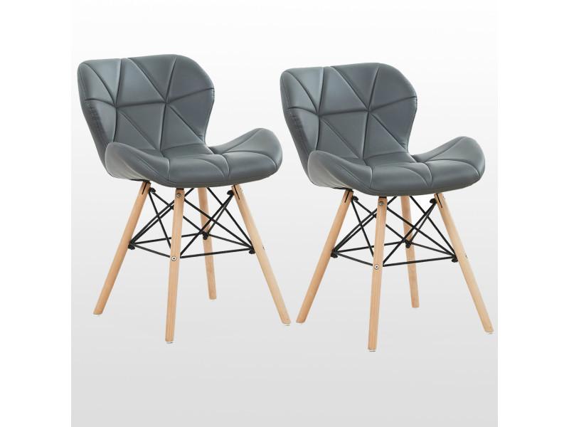 Lot de 2 chaises design en simili cuir grises - cecilia eiffel