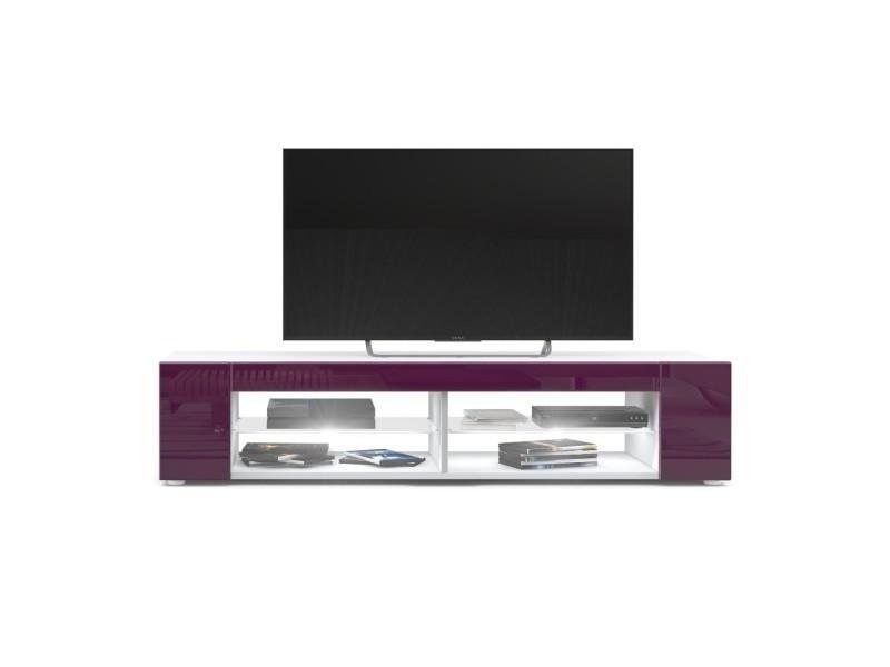 Meuble tv blanc mat façades en mûre laquées led blanc