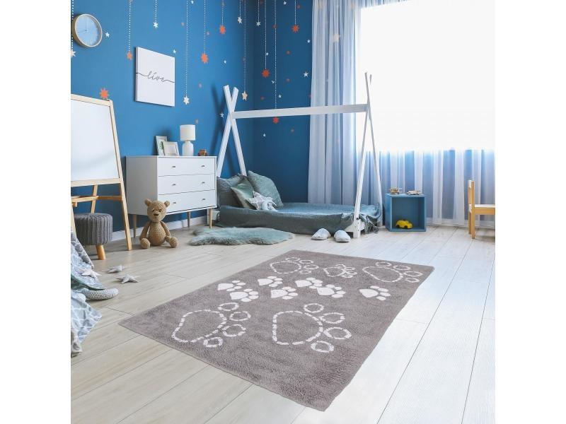 Pattes 100% bio tapis enfant 80x140 cm rectangulaire gris chambre tufté main coton