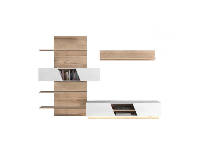 Ensemble meuble tv paroi murale blanc et aspect chêne clair - nova