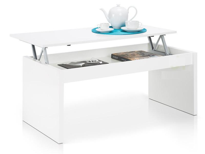 Table basse blanc brillant avec plateau relevable -pegane-