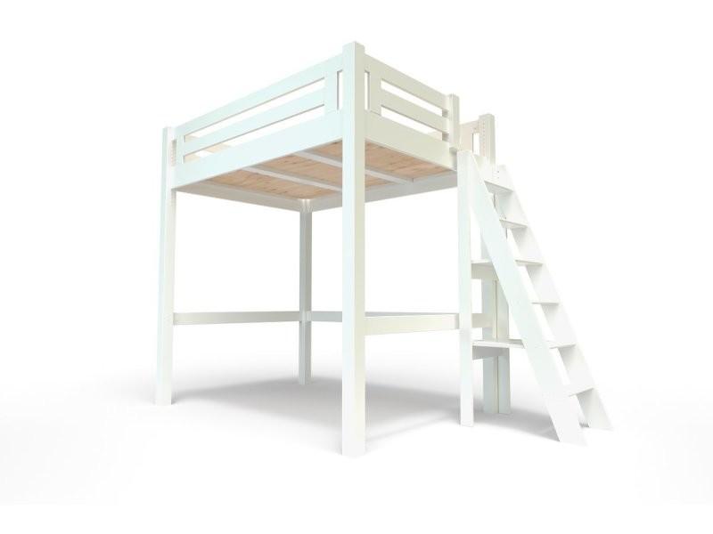 Lit mezzanine alpage bois + échelle hauteur réglable 140x200 blanc ALPAGECH140-LB