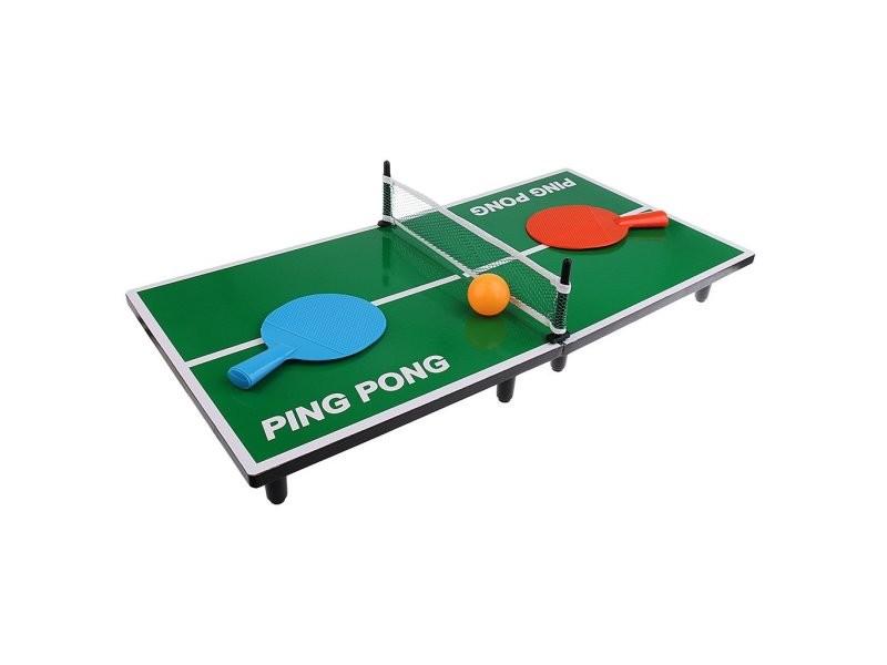 Mini table de ping pong 62 x 30,5 x 7 cm avec 2 raquettes, 1 balle et un filet tennis de table de bureau cadeau de noël