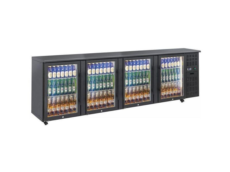 Arrière bar réfrigéré portes vitrées en skinplate anthracite - qbg - r2904 portes690vitrée/battante