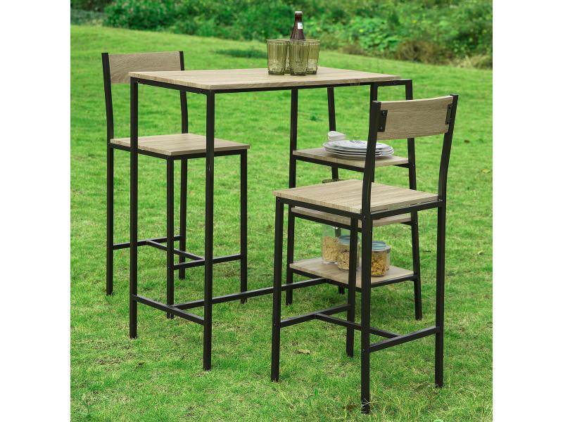 9eaa5843dcff45 Set de 1 table + 2 chaises ensemble table de bar bistrot + 2 tabourets de.  prevnext