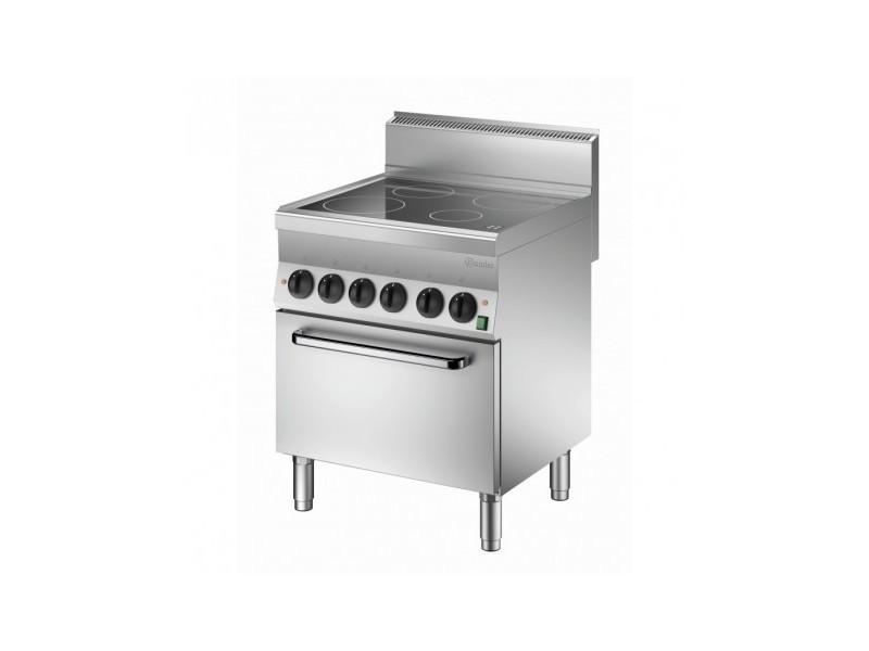 Piano de cuisson vitrocéramique 4 zones radiantes 12,2 kw - four électrique gn 1/1 4,2 kw - bartscher - 650