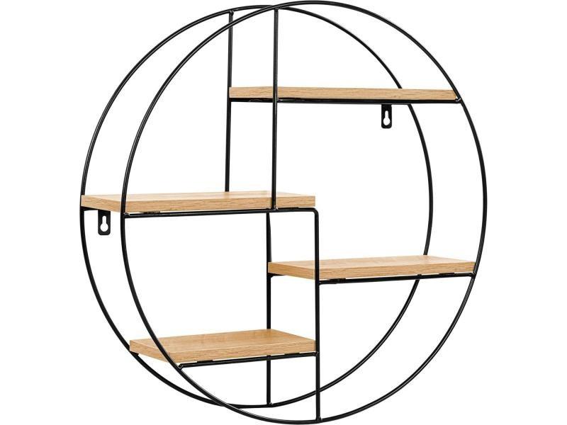 Stilista® étagère design ronde, 48x48x12 cm, couleur bois clair, testée sans substances nocives, étagère murale, étagère flottante