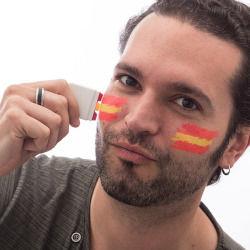 Peinture visage drapeau espagnol