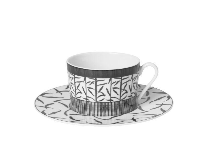 Tasse the 22 cl porcelaine decor madras gris (lot de 6)