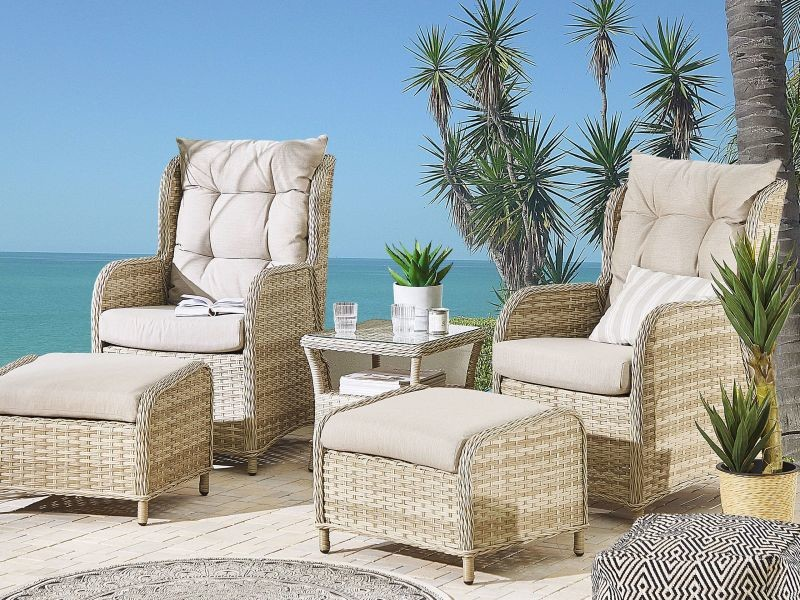 Set de terrasse table et 2 fauteuils en rotin beige ponza 211770
