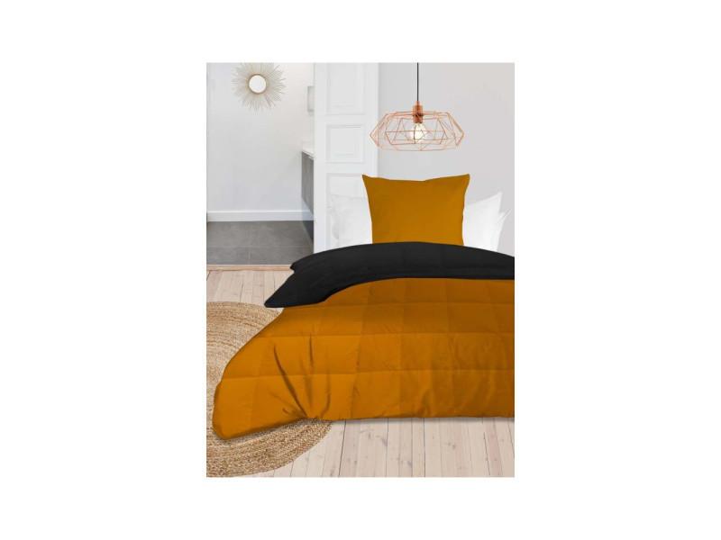 Couette 140x200 cm bicolore moutarde anthracite