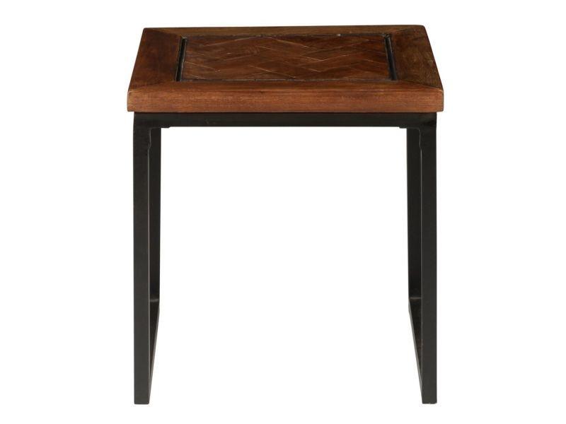 Bout de canapé carré en bois et métal noldor