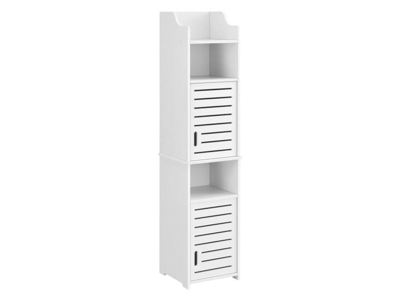 Meuble colonne pour salle de bain meuble de rangement à portes avec plusieurs compartiments de stockage bois composite 135 x 32 x 32 cm blanc [en.casa]