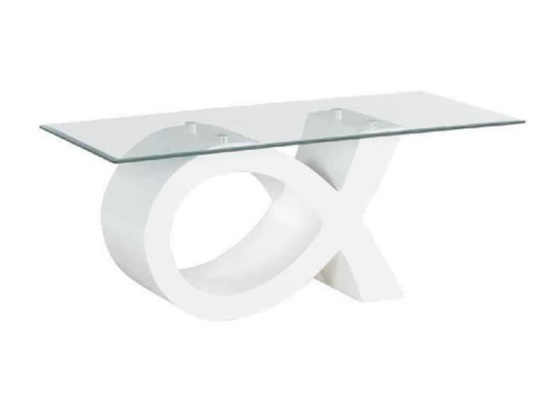 Table basse en verre trempé / mdf coloris blanc laqué brillant - longueur 110 x largeur 55 x hauteur 46 cm