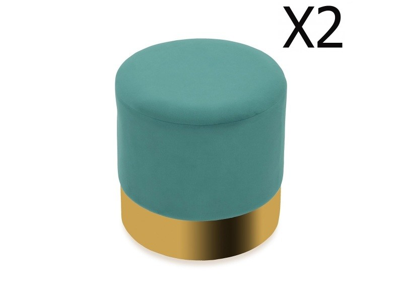 Lot de 2 poufs en tissu vert / doré et métal - l 35 x l 35 x h 35 cm -pegane-