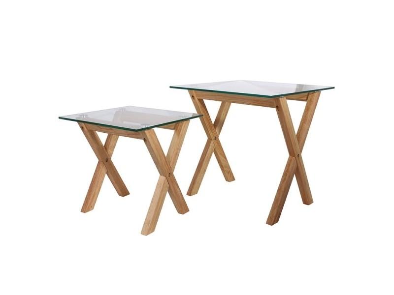 Lot de 2 tables gigognes avec plateau carré en verre trempé - l 50 x l 50 x h 50 cm - beige