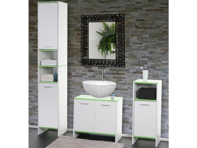 Ensemble de salle de bain coloris blanc et vert - dim : 179 x 31,5 x ...