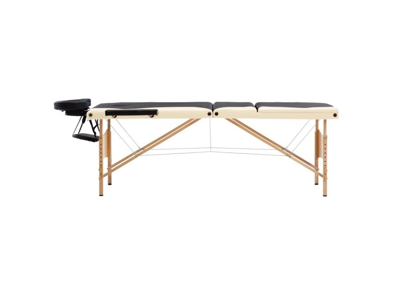 Icaverne - tables de massage selection table de massage pliable 3 zones bois noir et beige