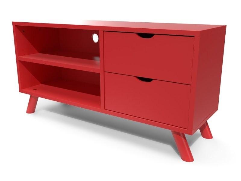 Meuble tv scandinave viking bois rouge VIKINGTV-Red