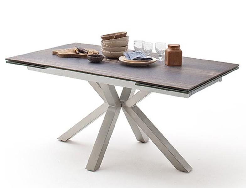 Table à manger extensible en céramique imi. Bois barique et acier brossé - l.160-240 x h.76 x p.90 cm -pegane- PEGANE