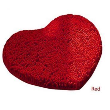 Tapis de bain en chenille àla forme de coeur ( 50 x 60 cm ) rouge
