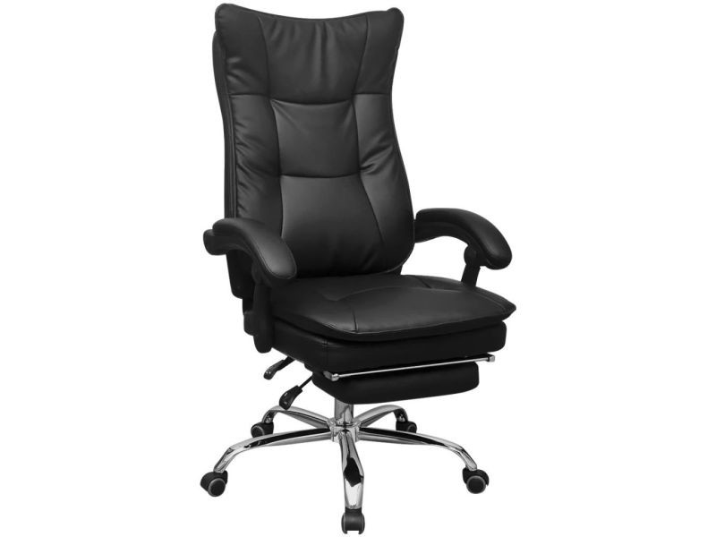 Vidaxl chaise de bureau inclinable avec repose pieds noir vente