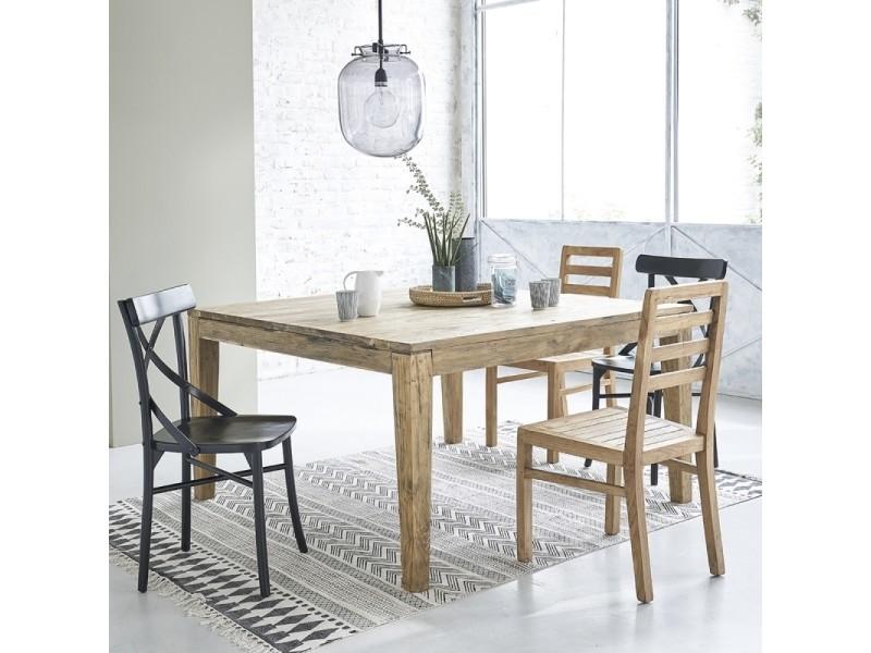Table en bois de teck recycl carr e 140 avec rallonges - Table carree avec rallonge conforama ...