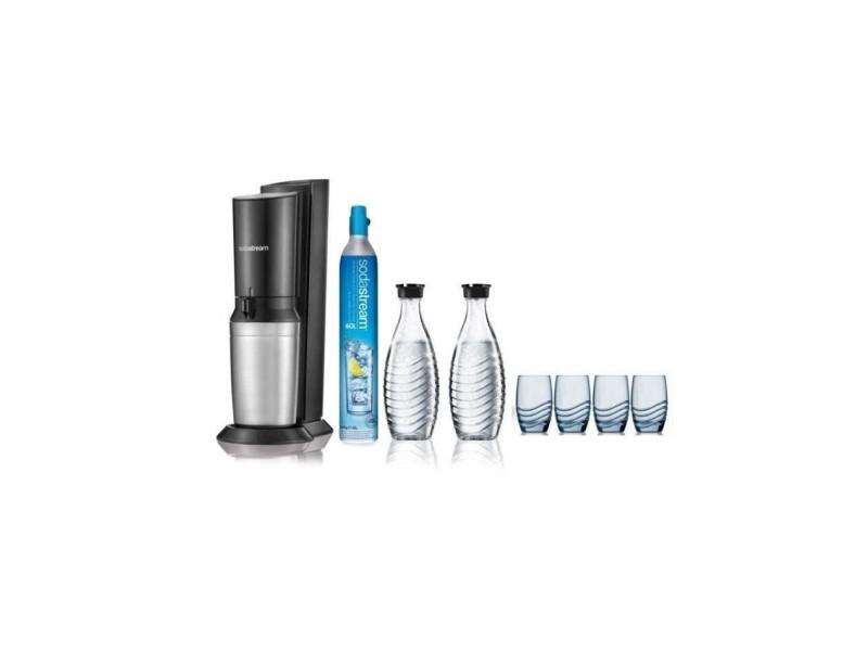 Pack machine a gazéifier crystal blanche + 2 carafes en verre + 4 verres sérigraphiés SOD87191281150V2
