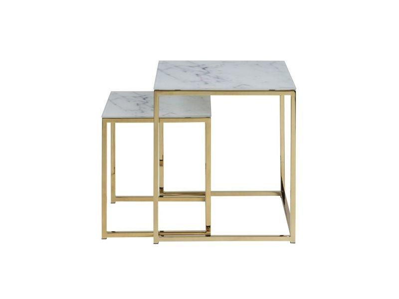 Tables Basses Gigognes Carrees Effet Marbre Et Pieds Metal Silas