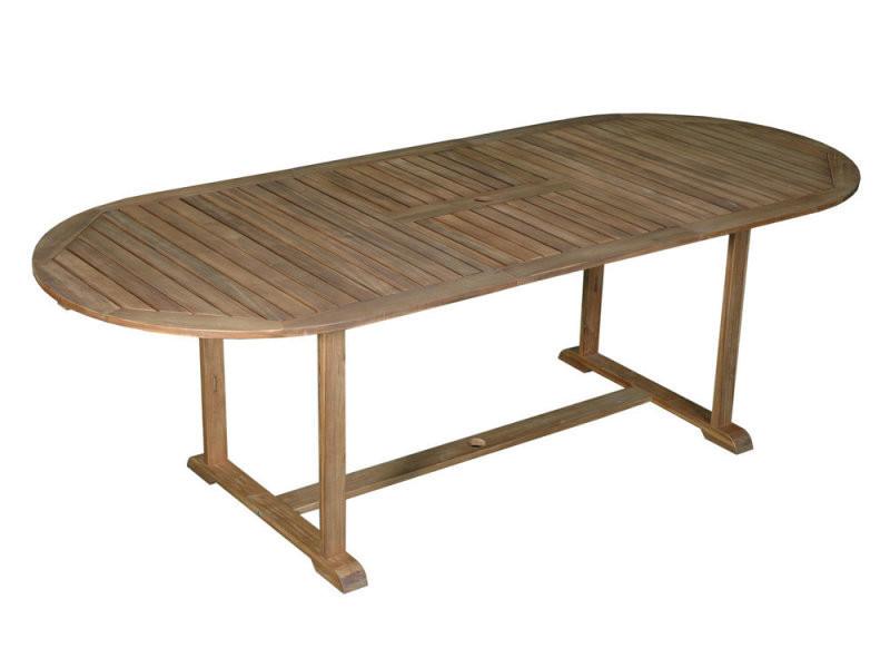 Table de jardin ovale extensible 180/237x100cm en acacia couleur ...