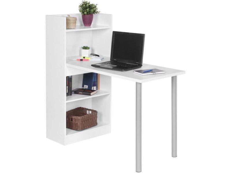 Bureau design cm avec étagères en aggloméré coloris blanc mat