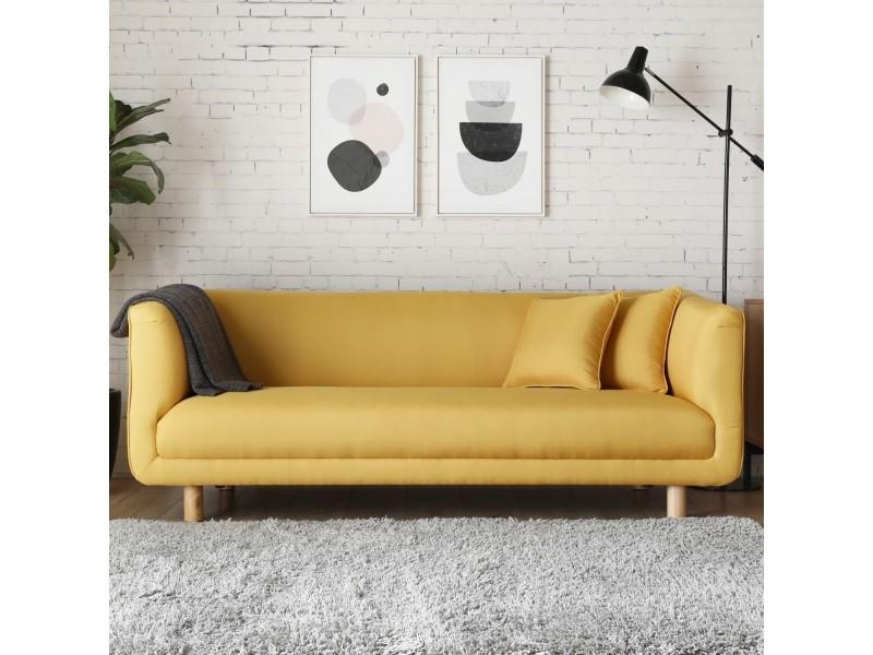 l 39 ivar canap scandinave 3 places jaune moutarde et 2 coussins 220391 vente de canap droit. Black Bedroom Furniture Sets. Home Design Ideas