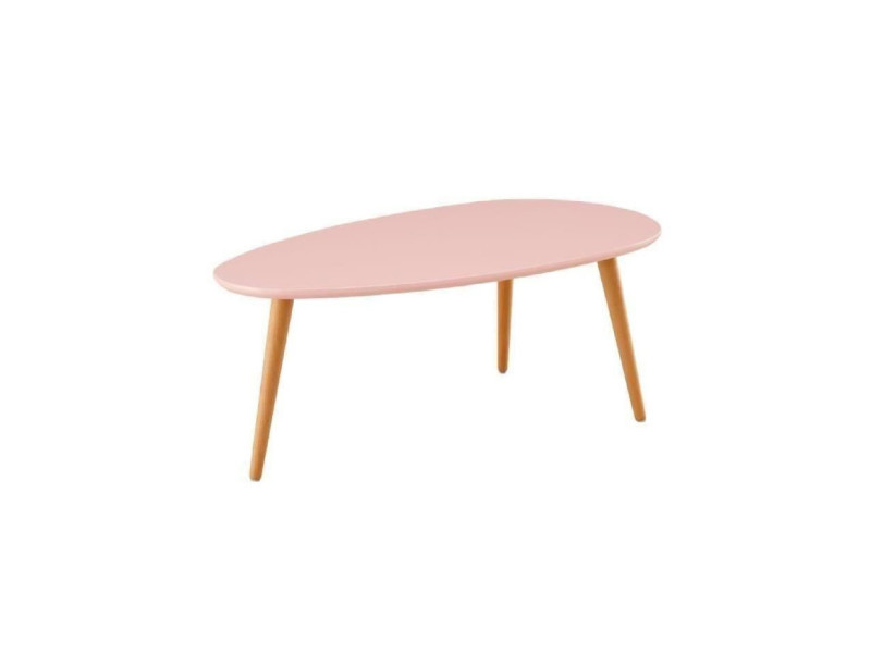Stone table basse ovale scandinave rose pastel laque - l 88 x l 48 cm