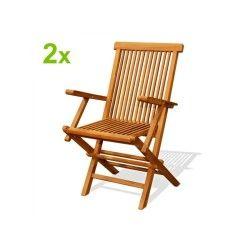 Lot de 2 fauteuils pliants jardin teck massif brut