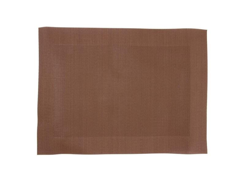 Set de table en pvc tissé marron - lot de 4 - pvc&polyester