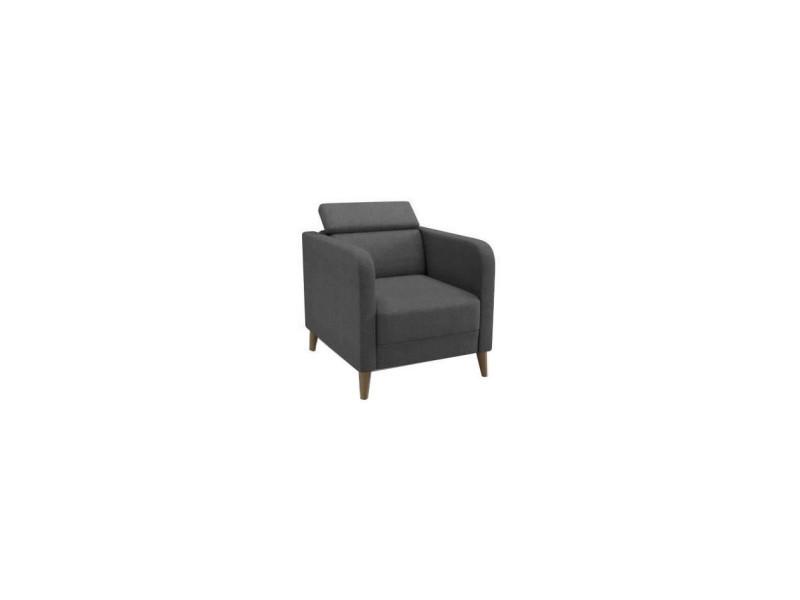 Finlandek fauteuil avec tetiere ajustable limpia - pieds en bois massif - tissu gris anthracite - scandinave - l 76 x p 71 cm