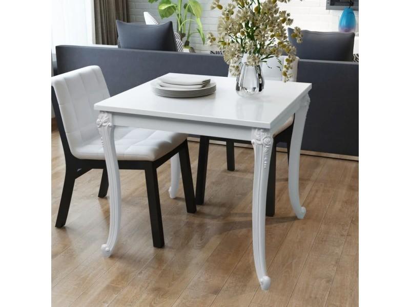 Vidaxl table de salle à manger 80 x 80 x 76 cm laquée blanche 243382