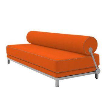 Canape Lit Convertible Design Sleep En Tissu Laine Orange Structure