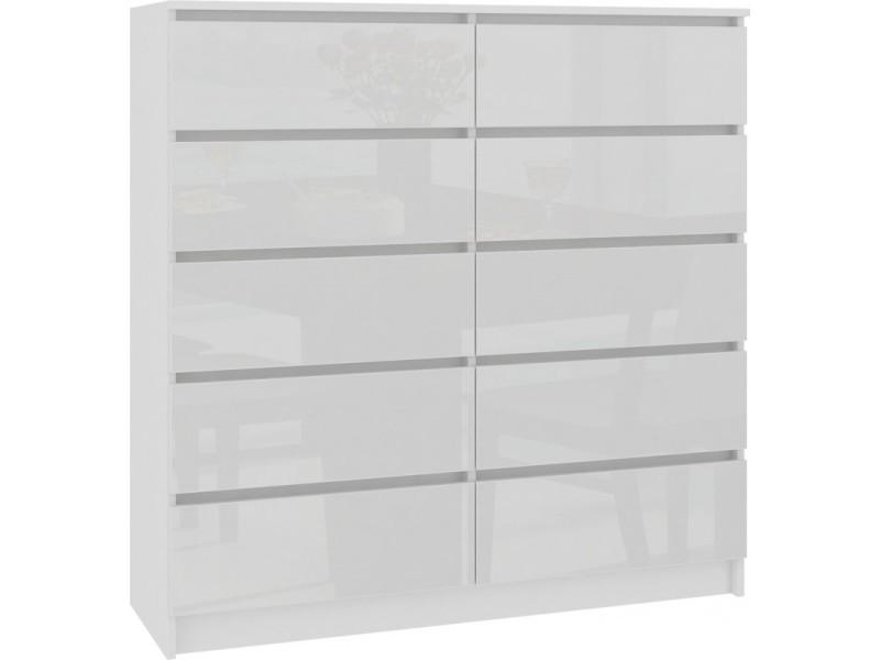 Cupid - commode contemporaine chambre/salon/bureau 121x120x40 cm - 10 tiroirs coulissants - dressing chiffonier moderne - blanc laqué