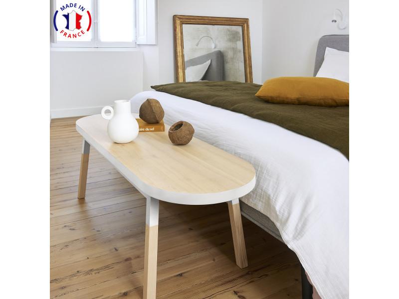 Bout de lit banc en frêne massif 140x45 cm blanc balisson - 100% fabrication française