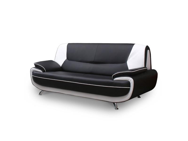 Muza - canapé design 3 places en simili cuir noir et blanc
