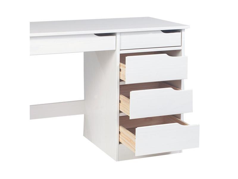 Bureau hugo avec rangement tiroirs style scandinave en pin