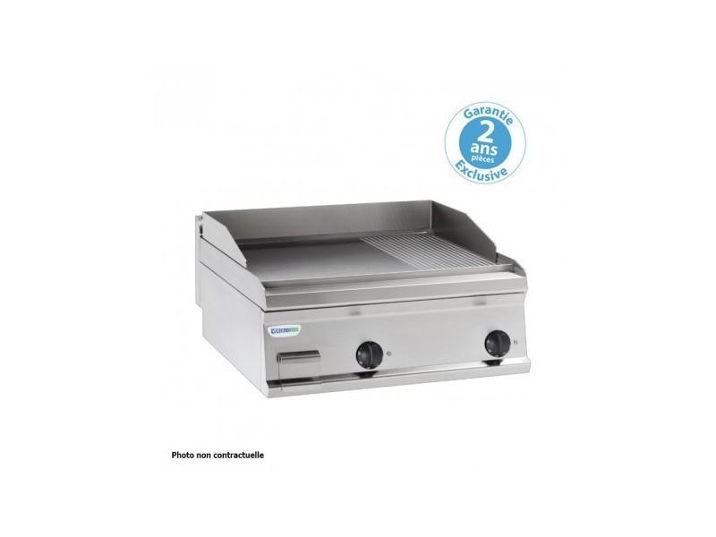 Plaque à snacker gaz - rainurée simple - 346 x 564 mm - gamme 700 - tecnoinox - inox