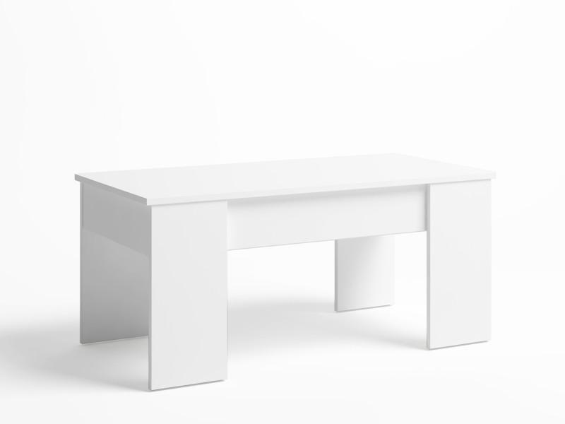 Table basse relevable OPORTO,plus grande épaisseUr et stabilité, couleur blanc, porte-revues inclus, 100 x 50 x 45 cm