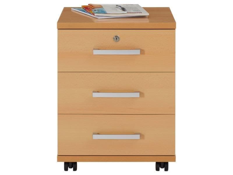 caisson roulettes yoan rangement bureau 3 tiroirs couleur h tre vente de idimex conforama. Black Bedroom Furniture Sets. Home Design Ideas