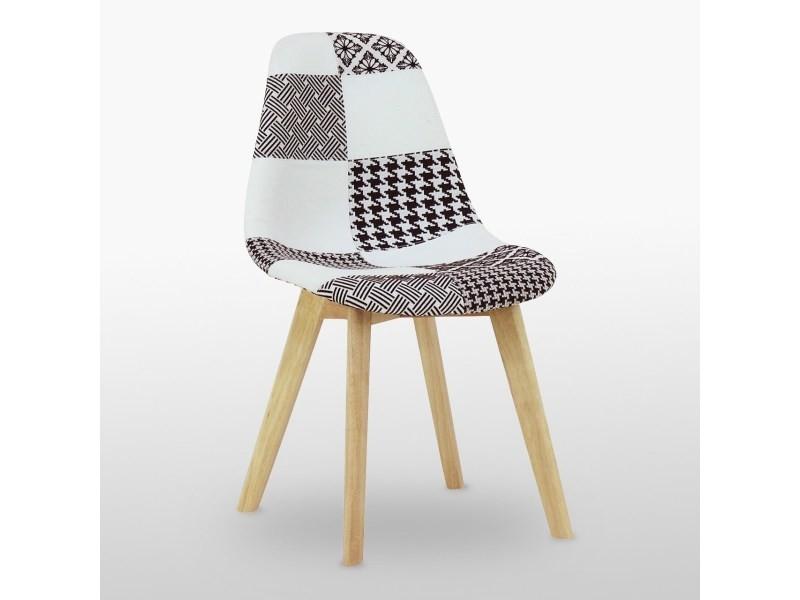Chaise scandinave en tissu patchwork - noir & blanc